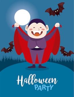 Fröhliche halloween-party mit dracula count und fledermäusen, die in der nachtszene fliegen