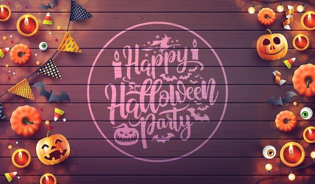 Fröhliche halloween-party mit kerzenlicht, kürbis und halloween-elementen auf holzhintergrund