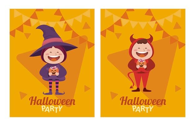 Fröhliche halloween-party mit kleinen teufels- und hexenfiguren