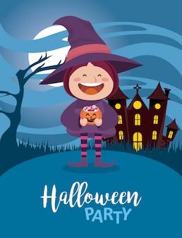 Fröhliche halloween-party mit kleiner hexe im spukschloss
