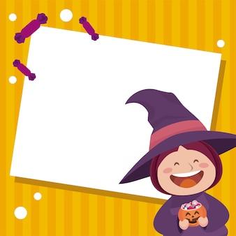 Fröhliche halloween-party mit kleiner hexe