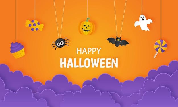Fröhliche halloween-party mit süßigkeiten- und kürbispapierkunstart auf orangefarbenem hintergrund
