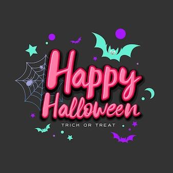 Fröhliche halloween-rosa-nachricht mit bunter fledermaus auf schwarzem hintergrund