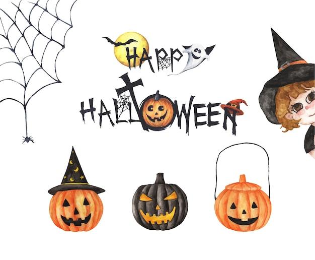 Fröhliche halloween-sammlung. hand gezeichnete aquarellmalerei auf weiß, elemente für kreatives design, druckbares dekor.