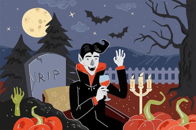 Fröhliche halloween-urlaubsgrußkarte vampir-abendessen im mondschein-nacht-friedhof mit kürbissen