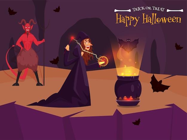 Fröhliche hexe, die magie mit kochendem kesseltrank tut