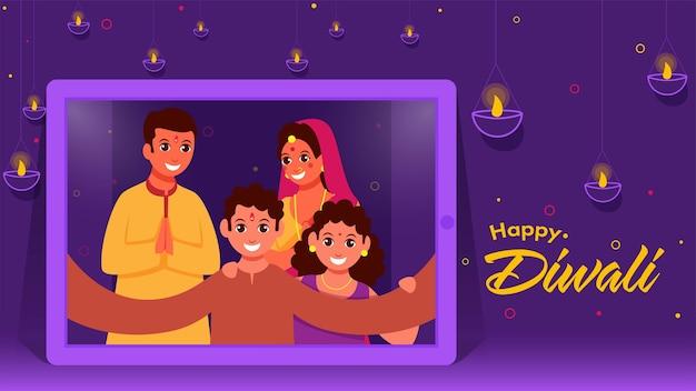 Fröhliche indische familie, die selfie zusammen vom smartphone nimmt und öllampen beleuchtet