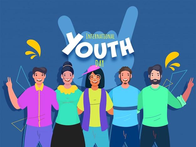 Fröhliche junge leute, die zusammen maßnahmen auf blauem hintergrund für die feier des internationalen jugendtages ergreifen.