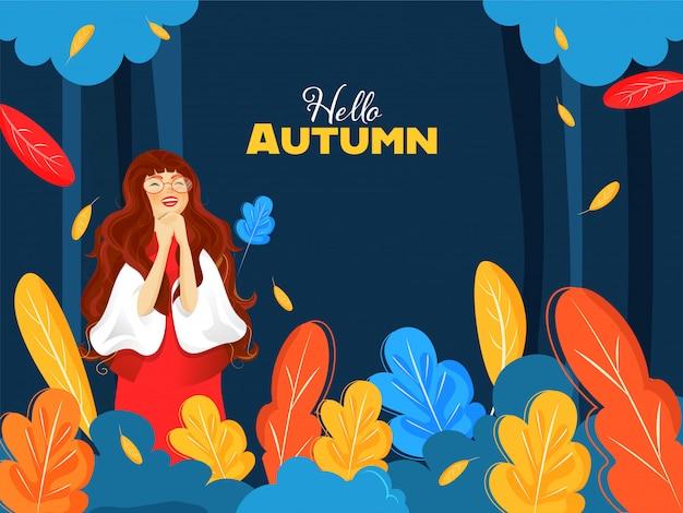 Fröhliche junge mädchenfigur mit bunten blättern auf blauem hintergrund für hallo herbst verziert.