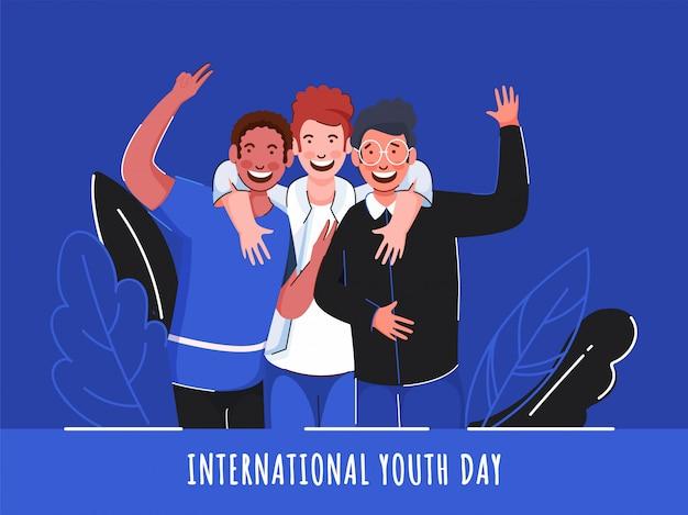 Fröhliche jungen in der fotoerfassungspose auf blauem hintergrund für den internationalen jugendtag.