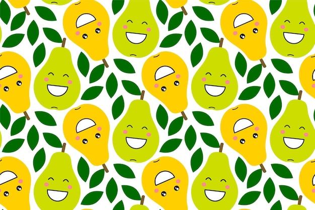 Fröhliche kawaii-fruchtdrucke für kinder. niedliches nahtloses muster mit smiley-birnen im cartoon-stil. verzierung mit lächelnder lustiger frucht. design für kleidung, textilien, stoffe, verpackungen, schrott, geschenkpapier.