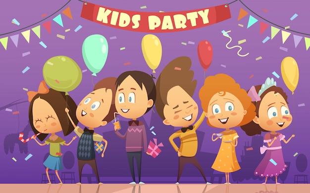 Fröhliche kinder, die an der geburtstagskarikaturkarikatur-vektorillustration tanzen und spielen