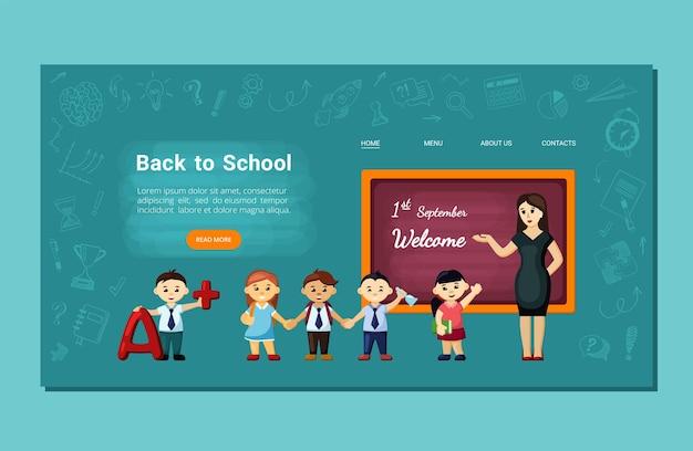 Fröhliche kinder zurück zur landingpage der schule. fröhliche schüler kehren im neuen schuljahr in die schule zurück und treffen sich mit freunden und lehrern, die interessante fachkenntnisse erlernen. vektor-cartoon-training.