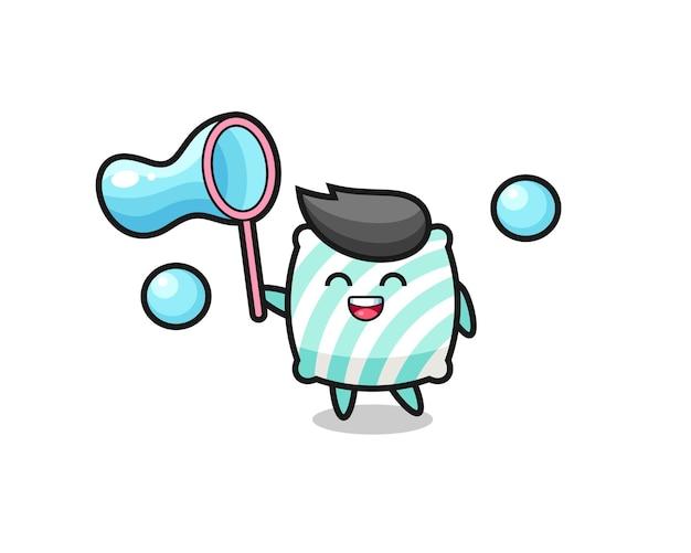 Fröhliche kissenkarikatur, die seifenblase spielt, niedliches design für t-shirt, aufkleber, logo-element Premium Vektoren