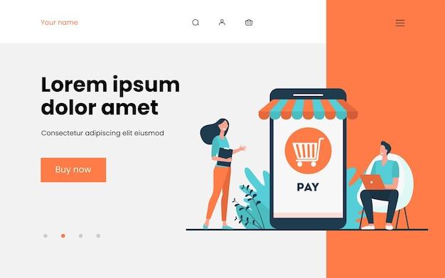 Fröhliche kleine kunden, die im online-shop bezahlen. smartphone, shop, telefon flach illustration