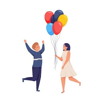 Fröhliche leute mit bunten ballons flache isolierte illustration
