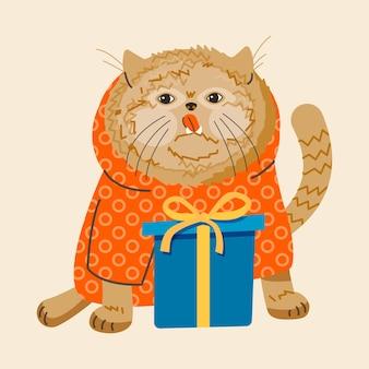Fröhliche lustige katze in einem sweatshirt mit einem geschenk gratuliert zum feiertag. trendige illustration im flachen stil. isolierter vektor