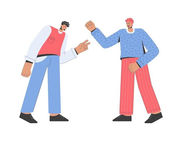 Fröhliche männer begrüßen sich und freundliche unterhaltung. treffen glücklicher freunde oder kollegen.