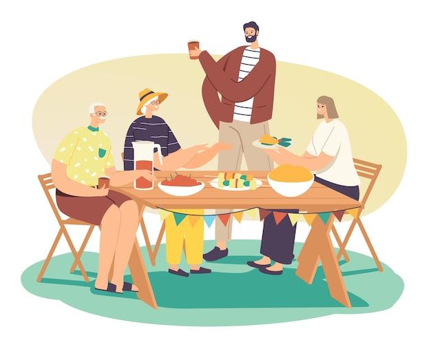 Fröhliche menschen entspannen sich, verbringen zeit im haushof im sommerurlaub. glückliche familie feiert gartenparty