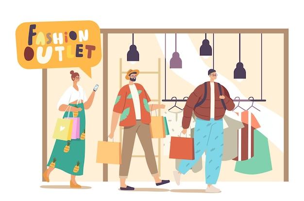 Fröhliche menschen mit einkaufstüten, die in der mall einkaufen. lächelnde charaktere mit verpackungen, die freude daran haben, kleidung im fashion outlet zu kaufen