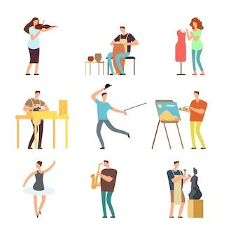 Fröhliche menschen mit kunst und musik. karikaturkünstler und musiker vector lokalisierte charaktere in den kreativen künstlerischen hobbys