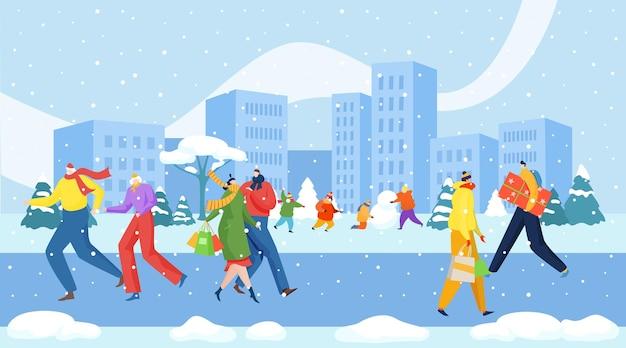 Fröhliche menschen spazieren bürgersteig weihnachten winterferienzeit stadtstadtbild