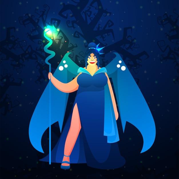 Fröhliche moderne weibliche hexe in der stehenden pose auf blauem waldhintergrund