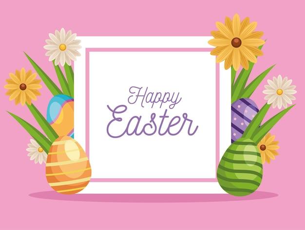 Fröhliche ostergrußkarte mit gemalten eiern und blumen im quadratischen rahmen