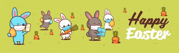 Fröhliche ostergrußkarte mit kaninchen, die masken tragen, um coronavirus-pandemie zu verhindern
