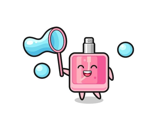 Fröhliche parfümkarikatur, die seifenblase spielt, niedliches design für t-shirt, aufkleber, logo-element