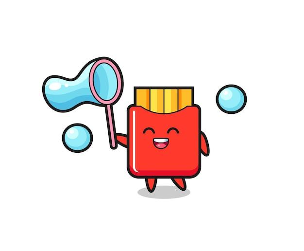 Fröhliche pommes-frites-karikatur, die seifenblase spielt, niedliches design für t-shirt, aufkleber, logo-element