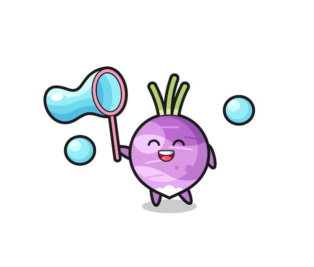 Fröhliche rübenkarikatur, die seifenblase spielt, niedliches design für t-shirt, aufkleber, logo-element