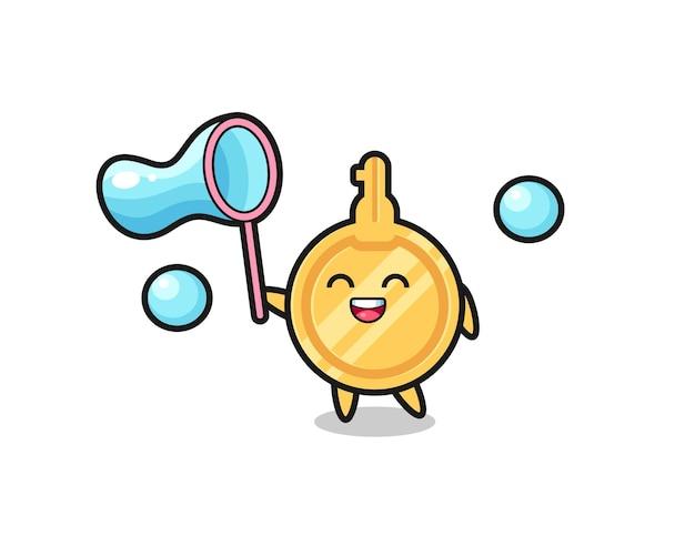 Fröhliche schlüsselkarikatur, die seifenblase spielt, süßes design