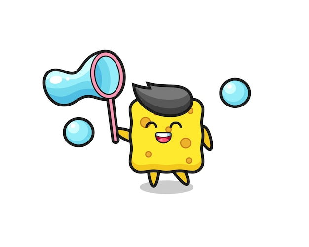 Fröhliche schwammkarikatur, die seifenblase spielt, niedliches design für t-shirt, aufkleber, logo-element