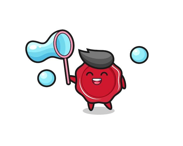 Fröhliche siegellackkarikatur, die seifenblase spielt, niedliches design für t-shirt, aufkleber, logo-element