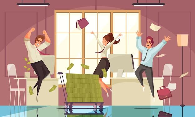 Fröhliche springende menschenillustration mit erfolg bei der arbeit