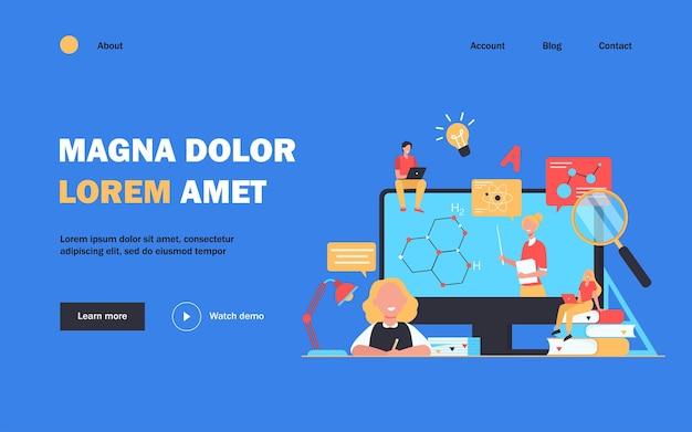 Fröhliche studenten oder schüler, die sich ein webinar ansehen, isolierte flache illustration
