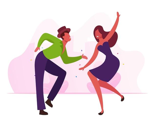 Fröhliche tänzer, die während des karnevals oder des wettbewerbs in rio aufregenden brasilien-tanz aufführen. karikatur flache illustration