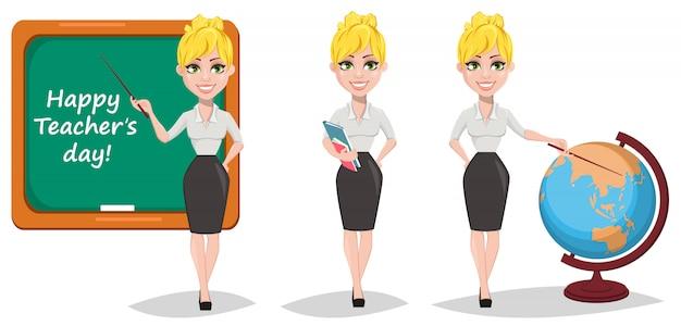 Fröhliche weibliche lehrer eingestellt