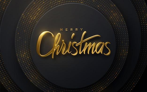 Fröhliche weihnachten. 3d-illustration. festliche goldene beschriftung auf schwarzem papierschnitthintergrund. geometrische formen mit glitzer und tannenschild