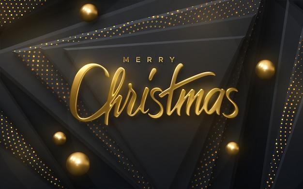 Fröhliche weihnachten. abbildung des vektor 3d. festliche goldene beschriftung auf schwarzem papercut hintergrund.