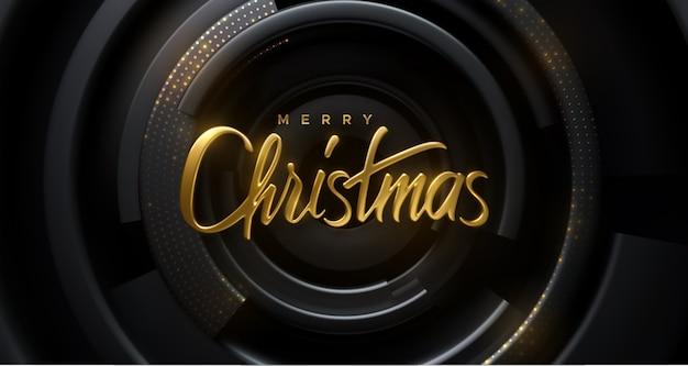 Fröhliche weihnachten. festliche dekoration der goldenen realistischen 3d-beschriftung auf radialen geometrischen formen