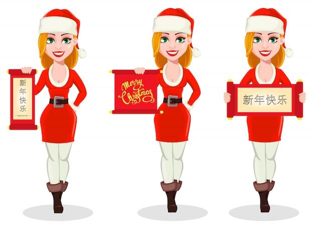 Fröhliche weihnachten. frau im weihnachtsmann-kostüm