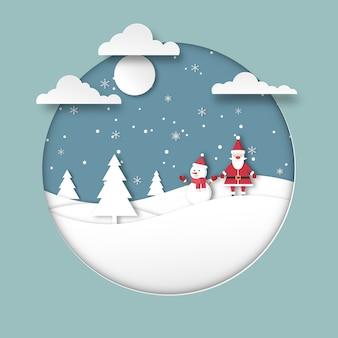 Fröhliche weihnachten. frohes neues jahr grußkarte. die weihnachtszeit des weihnachtsmannes mit einem niedlichen schneemann auf den hügeln und schneeflocken. papierschnitt stil