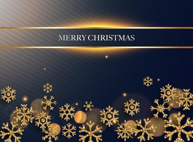 Fröhliche weihnachten. goldene glitzerschneeflocken auf dunklem hintergrund.