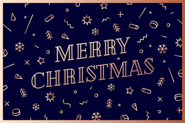 Fröhliche weihnachten. grußkarte mit text frohe weihnachten. geometrische memphis hellgoldene art für frohes neues jahr oder frohe weihnachten. feiertagshintergrund, grußkarte.