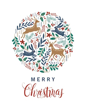 Fröhliche weihnachten. grußkarte mit weihnachtshirsch.