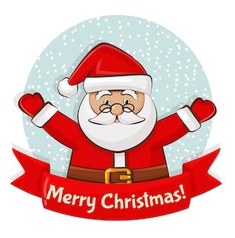 Fröhliche weihnachten! grußkarte mit weihnachtsmann.