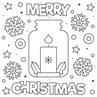 Fröhliche weihnachten. malvorlage schwarzweiss-vektorabbildung.