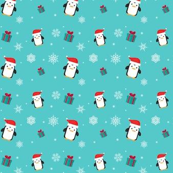 Fröhliche weihnachten. nahtloses pinguinmuster.